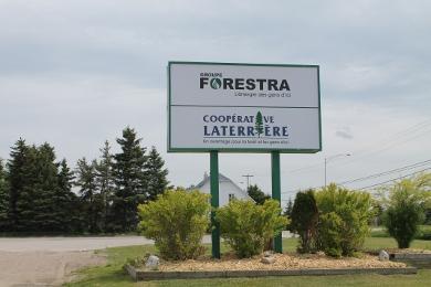 Enseigne de la Coopérative forestière Laterrière et de sa filiale, Groupe Forestra